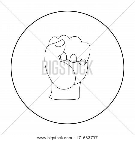 Boxing fist icon in outline style isolated on white background. Boxing symbol vector illustration.