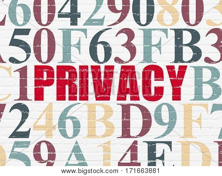 Privacy concept: Painted red text Privacy on White Brick wall background with Hexadecimal Code
