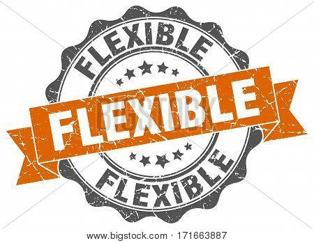flexible. stamp. sign. seal. round. retro. ribbon