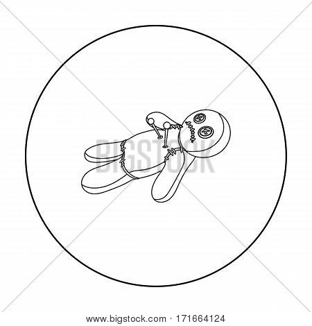 Voodoo doll icon in outline style isolated on white background. Black and white magic symbol vector illustration.