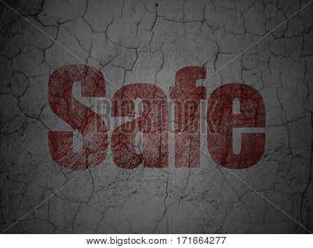 Privacy concept: Red Safe on grunge textured concrete wall background