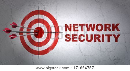 Success protection concept: arrows hitting the center of target, Red Network Security on wall background, 3D rendering