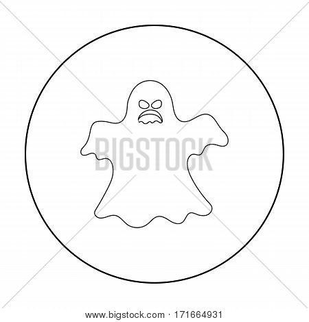 Ghost icon in outline style isolated on white background. Black and white magic symbol vector illustration.