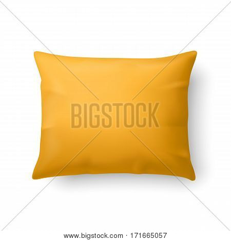 Close Up of a Classic Yellow Pillow Isolated on White Background