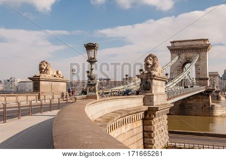 The Szechenyi Chain Bridge On The River Danube In Budapest, Hungary