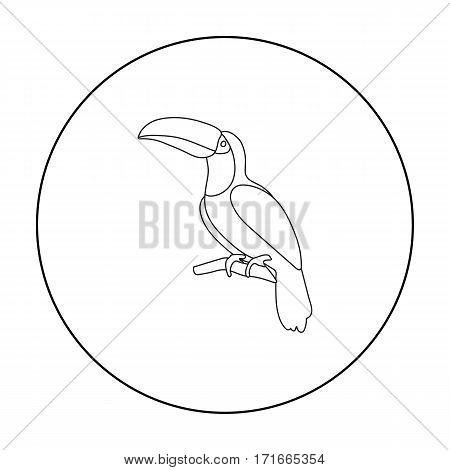 Toucan icon in outline style isolated on white background. Bird symbol vector illustration.