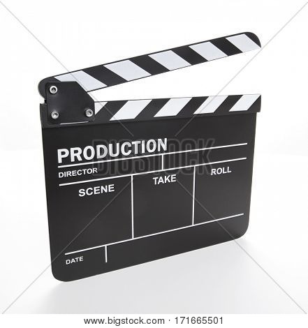 Black clapper board isolated on white background