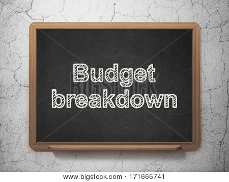 Business concept: text Budget Breakdown on Black chalkboard on grunge wall background, 3D rendering