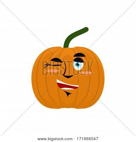 Pumpkin Winks Emoji. Halloween And Thanksgiving Day Vegetable Cheerful Emotion Isolated