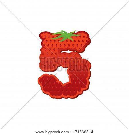 Number 5 Strawberry Font. Red Berry Lettering Five Alphabet. Fruits Abc