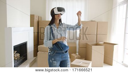 Woman interacting with her virtual environment