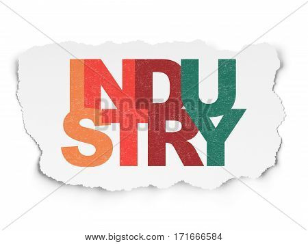 Business concept: Painted multicolor text Industry on Torn Paper background