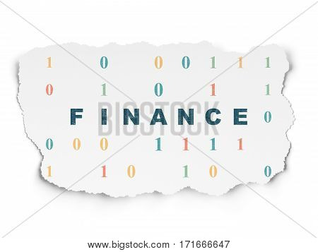 Finance concept: Painted blue text Finance on Torn Paper background with  Binary Code