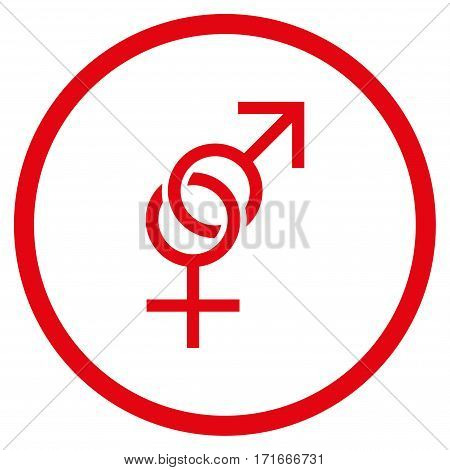 Sex Symbol rounded icon. Vector illustration style is flat iconic symbol inside circle, red color, white background.