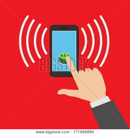 Smartphone with processing of mobile payments. Communication technology concept. Isolated on red background. Flat design style vector illustration.