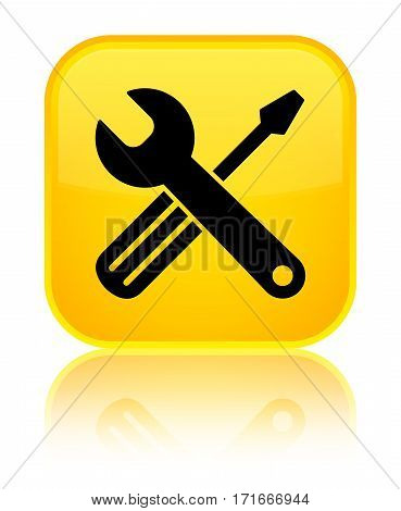 Tools Icon Shiny Yellow Square Button