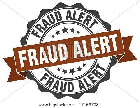 fraud alert. stamp. sign. seal. round. retro. ribbon