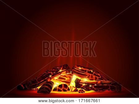 Smoldering campfire at night with red coals. Fire. Firewood in the fireplace. Vector graphics with transparency effect