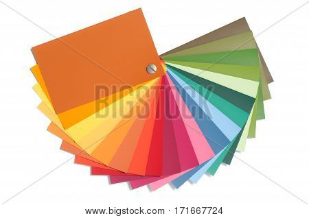 Color palette guide, paint catalog samples, rainbow swatch