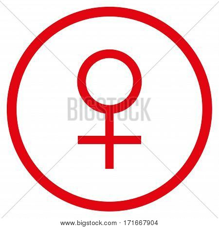 Venus Female Symbol rounded icon. Vector illustration style is flat iconic symbol inside circle, red color, white background.