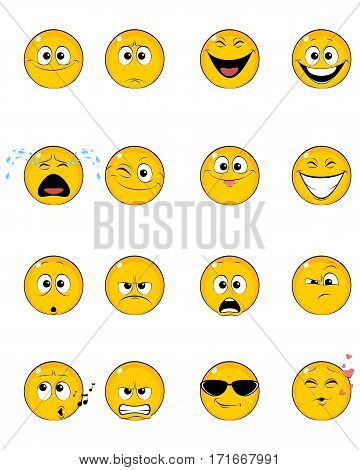 Vector illustration of a sixteen yellow faces