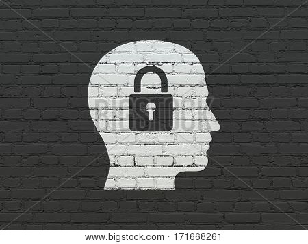 Finance concept: Painted white Head With Padlock icon on Black Brick wall background