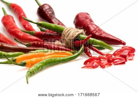 Colorful Vegetables, Cherry Tomato, Capsicum, Chilli Pepper Isolated On White