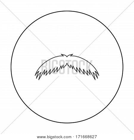 Man's mustache icon in outline style isolated on white background. Beard symbol vector illustration.