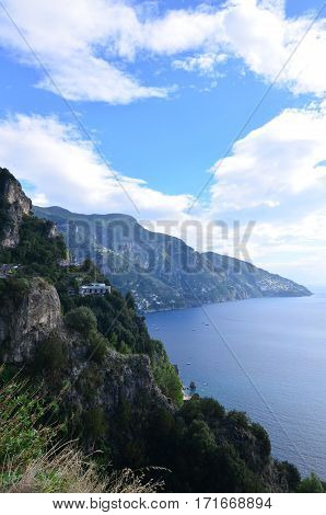 Beautiful rolling hills along the Amalfi Coast in Italy.