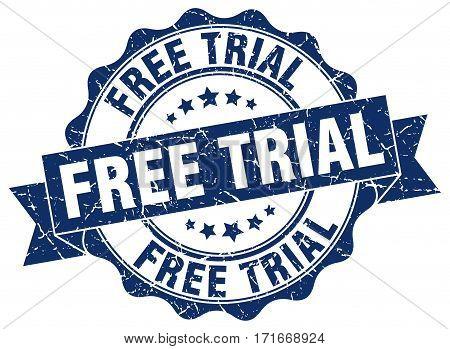 free trial. stamp. sign. seal. round. retro. ribbon