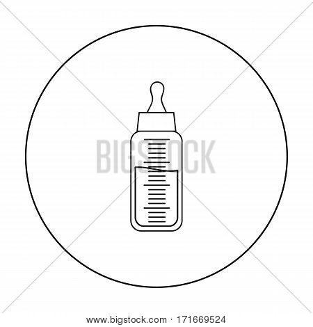 Baby bottle icon in outline style isolated on white background. Baby born symbol vector illustration.