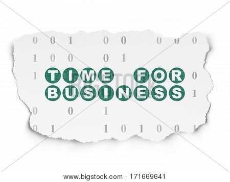 Finance concept: Painted green text Time for Business on Torn Paper background with  Binary Code