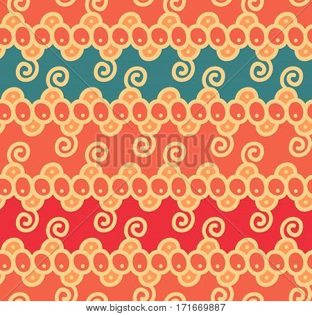 Seamless abstract scroll curl wreath floral ethnic background pattern in vector