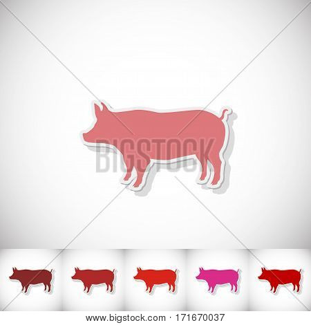 Pig. Flat sticker with shadow on white background. Vector illustration