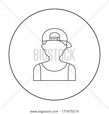 Boy in cap icon outline. Single avatar, peaople icon from the big avatar outline.