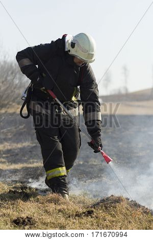 picture of firefighters battle a wildfire in spring
