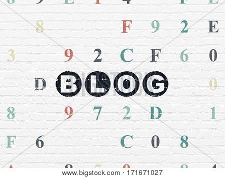 Web design concept: Painted black text Blog on White Brick wall background with Hexadecimal Code