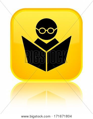 Elearning Icon Shiny Yellow Square Button