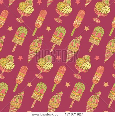 Seamless ice cream pattern in vector. Endless tasty sundae background