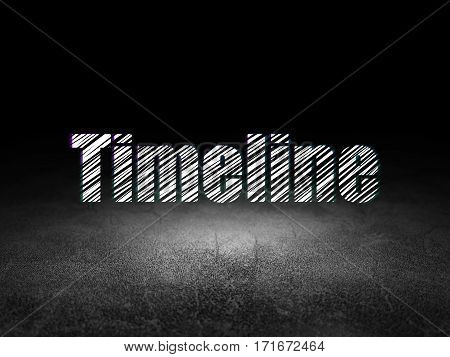 Timeline concept: Glowing text Timeline in grunge dark room with Dirty Floor, black background