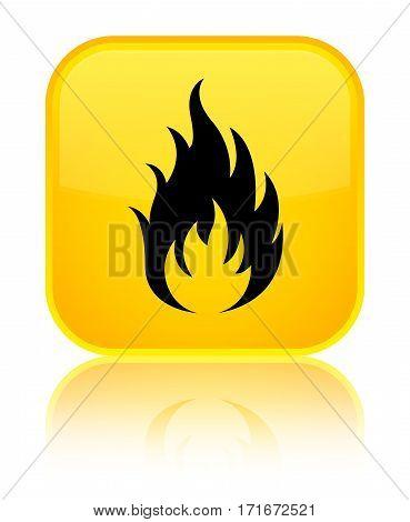 Fire Icon Shiny Yellow Square Button