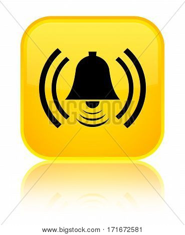 Alarm Icon Shiny Yellow Square Button
