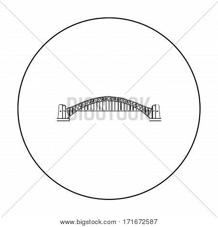 Sydney Harbour Bridge icon in outline design isolated on white background. Australia symbol stock vector illustration.