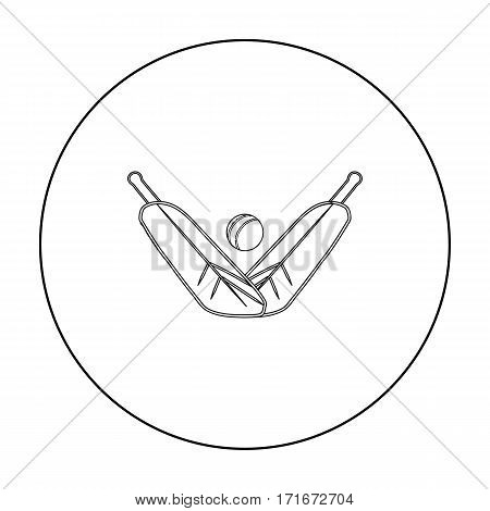 Crossed cricket bats with ball icon in outline design isolated on white background. Australia symbol stock vector illustration.