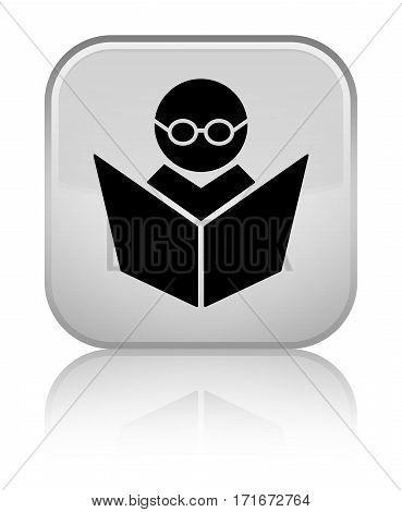 Elearning Icon Shiny White Square Button