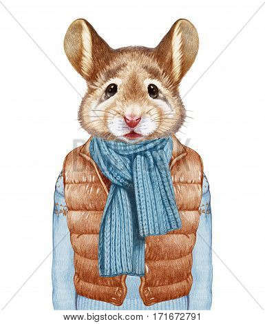Animals as a human. Mouse in down vest, sweater and scarf. Hand-drawn illustration, digitally colored.