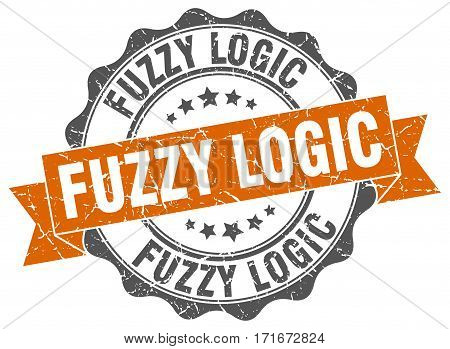 fuzzy logic. stamp. sign. seal. round. retro. ribbon