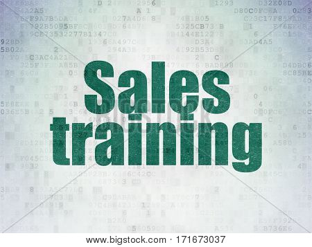 Marketing concept: Painted green word Sales Training on Digital Data Paper background