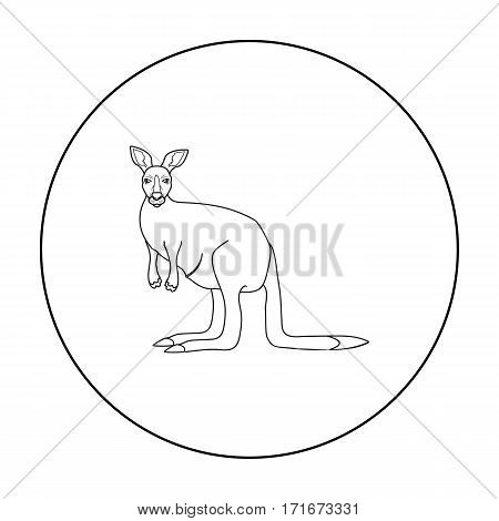 Kangaroo icon in outline design isolated on white background. Australia symbol stock vector illustration.