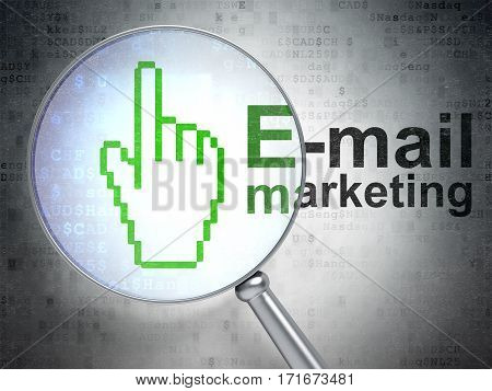Marketing concept: magnifying optical glass with Mouse Cursor icon and E-mail Marketing word on digital background, 3D rendering